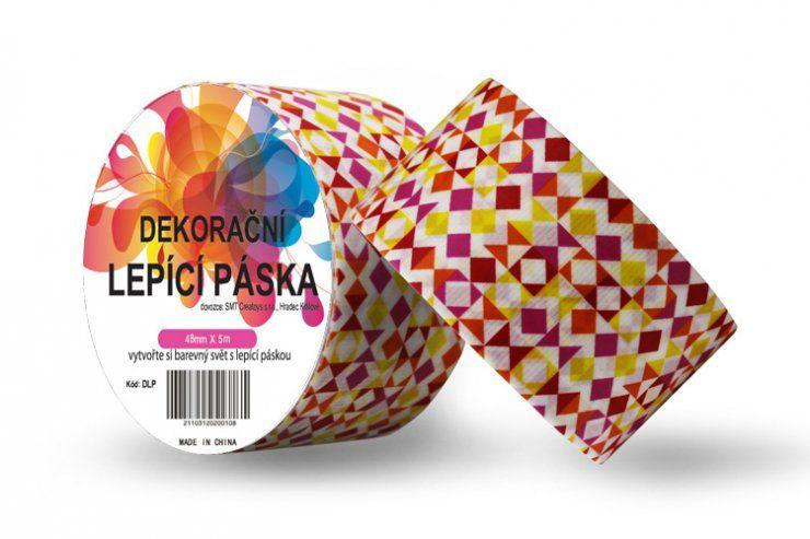 Duct Tape - dekorační lepicí páska - 5m x 48mm - TVARY DO ČERVENA ostatní