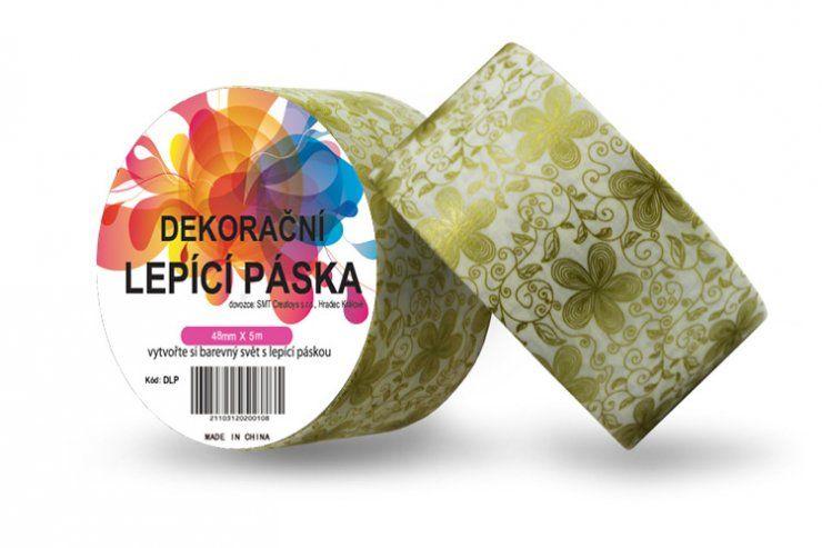 Duct Tape - dekorační lepicí páska - 5m x 48mm - ZLATÉ KVĚTINY ostatní