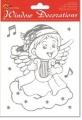 Folie okenní adhézní vánoční stříbrný andělíček