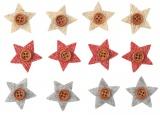 Hvězda s knoflíkem a lepíkem 3cm,12 ks v sáčku