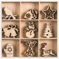 Mix dřevěných dekorací VÁNOCE 45ks