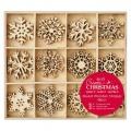 Mix dřevěných dekorací VLOČKY 48ks