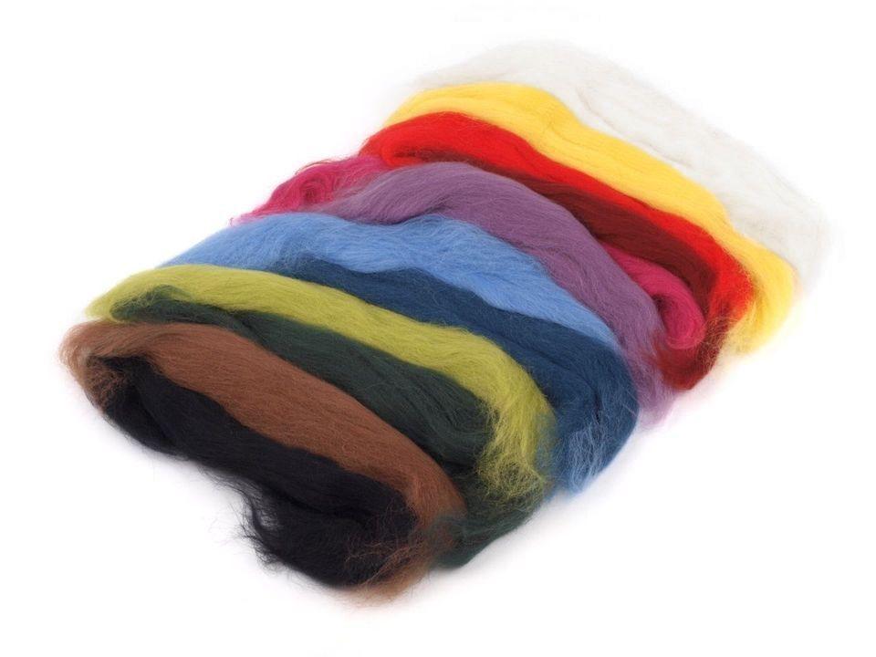 Ovčí rouno sada 50 g česané 12 barev