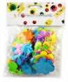 Výseky z pěnovky kytičky - třpytivé - mix barev - 72 ks