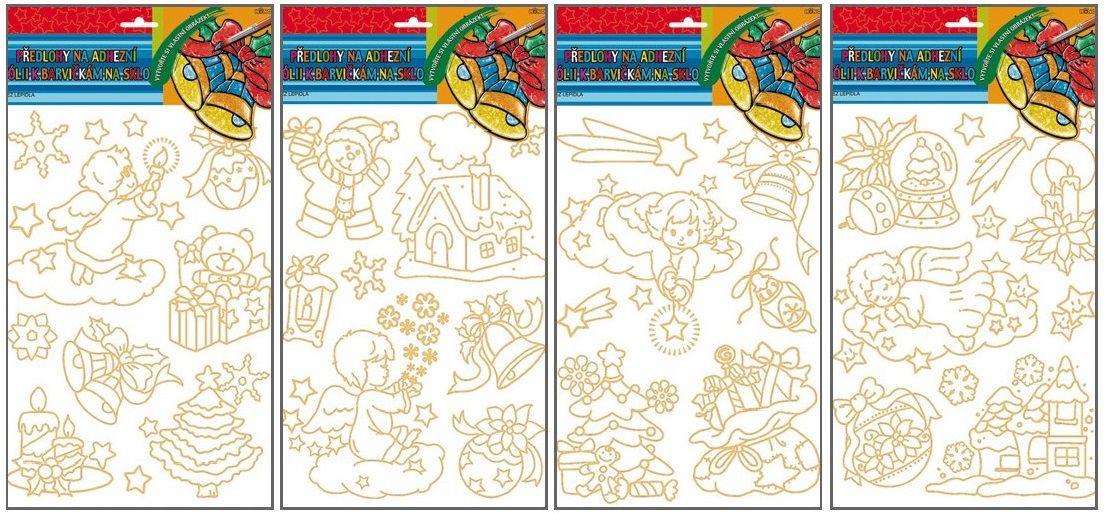 Předlohy na adhézní folii pro barvy na sklo - Vánoční 30x21cm Andel