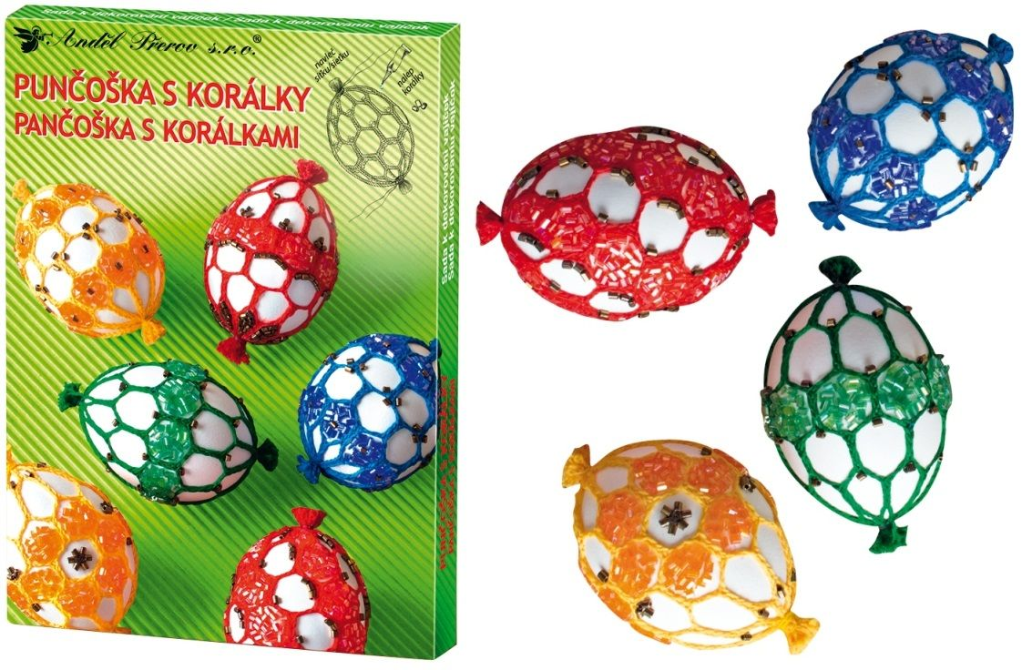 Sada k dekorování vajíček - punčoška s korálky Andel