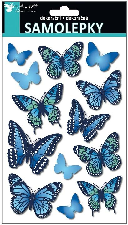 Samolepky motýli s 3D křídly modří 21 x14 cm Andel