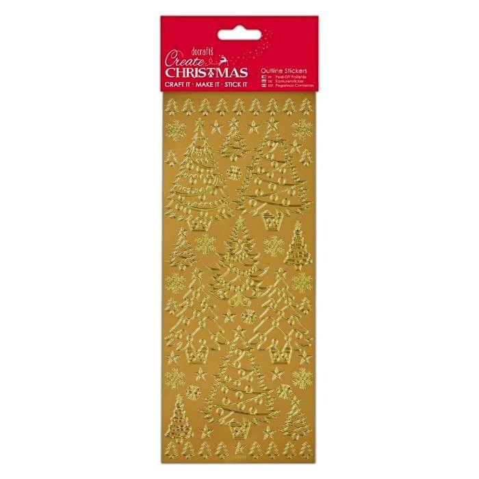 Samolepky obrysové zlaté 10x24cm - Vánoční stromečky DOCRAFTS