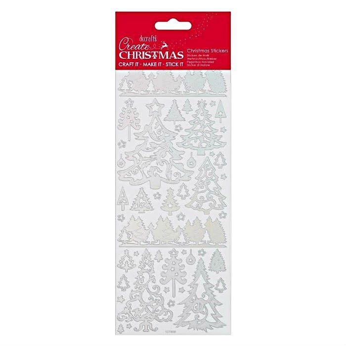 Samolepky stříbrné 10x23cm - Vánoční stromky DOCRAFTS