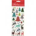 Samolepky třpytivé 10x23cm - Vánoční stromečky a sobi