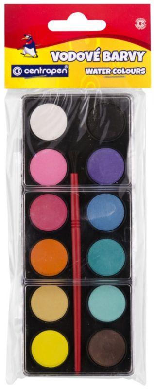 Školní vodové barvy Centropen 12 ks 22mm + štětec
