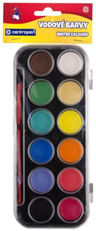 Školní vodové barvy Centropen 12 ks 30mm + štětec