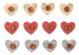 Srdce s knoflíkem a lepíkem 3cm,12 ks v sáčku