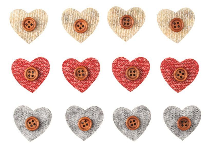 Srdce s knoflíkem a lepíkem 3cm,12 ks v sáčku ostatní