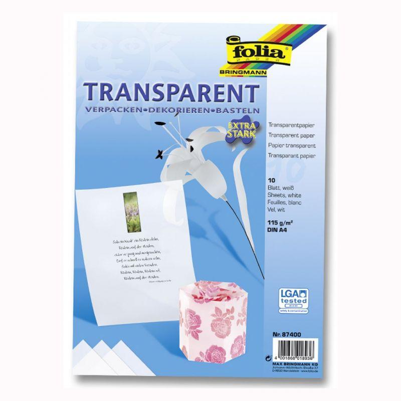 Transparentní papír jednobarevný - 10listů bílá Folia