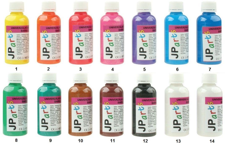 Univerzální akrylátové barvy lesklé, glitrové 50g JP Arts