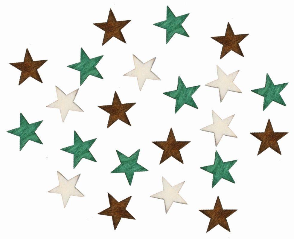 Výseky dřevěné - hvězdy II 2 cm, 3 barvy - 24 ks ostatní