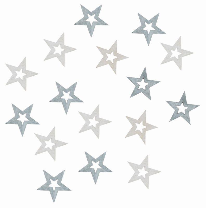 Výseky dřevěné - hvězdy 2 cm, šedé - 24 ks