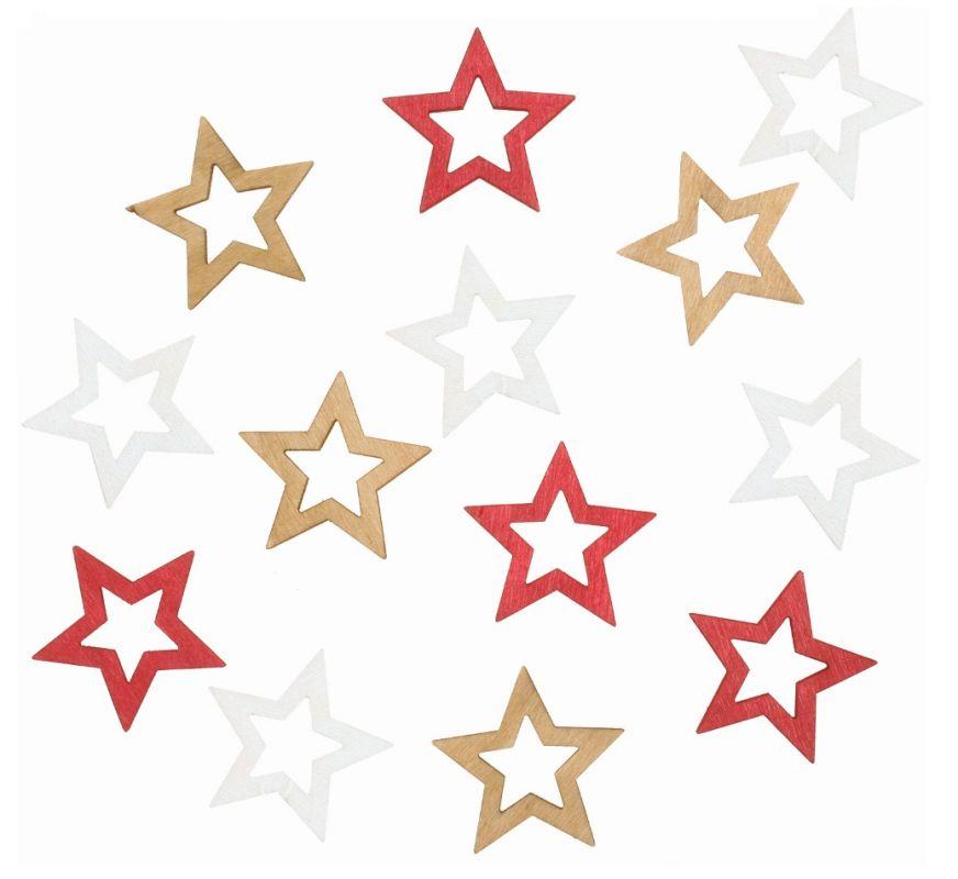 Výseky dřevěné - hvězdy 4 cm, 3 barvy - 12 ks ostatní
