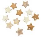 Výseky dřevěné - hvězdy 4 cm, 3 barvy - 12 ks