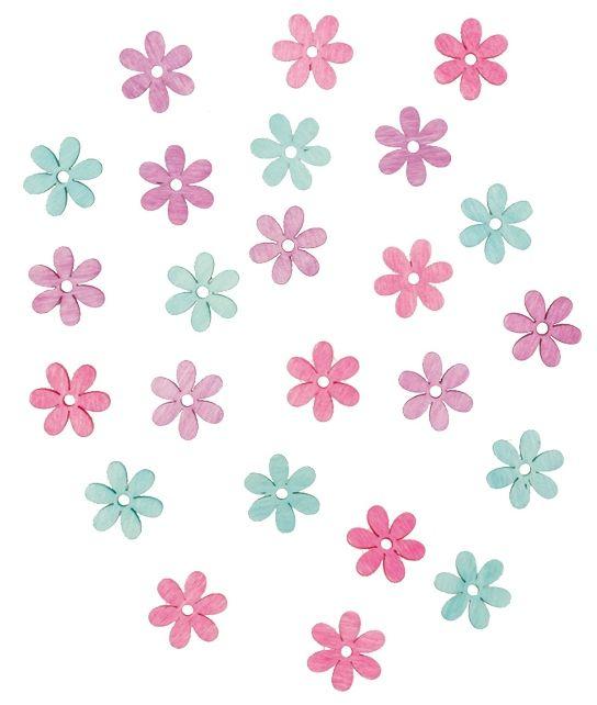 Výseky dřevěné - květy 2 cm, 24 ks ostatní