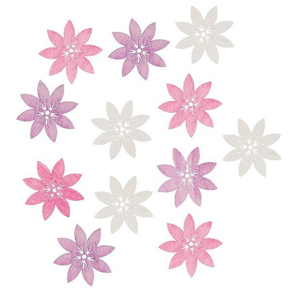 Výseky dřevěné - květy 4 cm, 12 ks ostatní