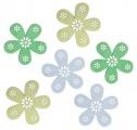 Výseky dřevěné - květy 6 cm, 6 ks