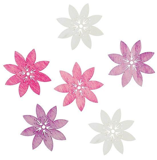 Výseky dřevěné - květy 6 cm, 6 ks ostatní