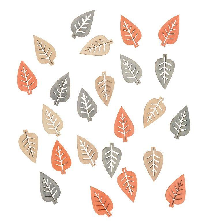 Výseky dřevěné - listy 2 cm, 3 barvy - 24 ks ostatní