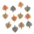 Výseky dřevěné - listy 4 cm, 3 barvy - 12 ks