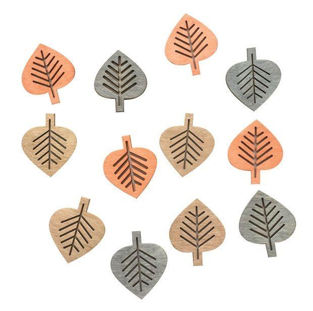 Výseky dřevěné - listy 4 cm, 3 barvy - 12 ks ostatní