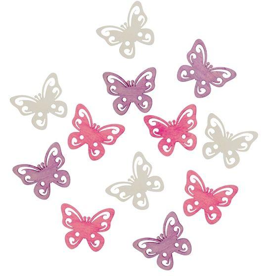 Výseky dřevěné - motýli 4 cm, 12 ks ostatní