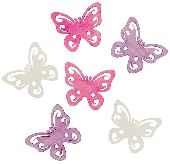 Výseky dřevěné - motýli 6 cm, 6 ks ostatní