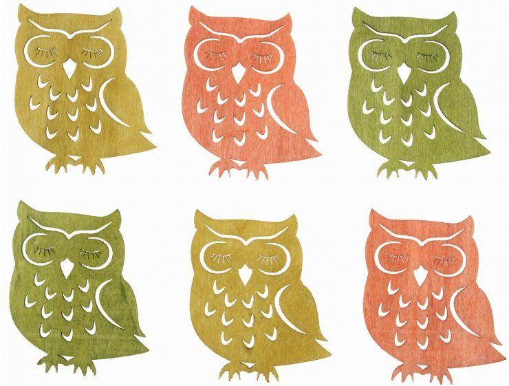 Výseky dřevěné - sovy 6 cm, 3 barvy - 6 ks