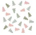 Výseky dřevěné - stromky 2 cm, 3 barvy - 24 ks