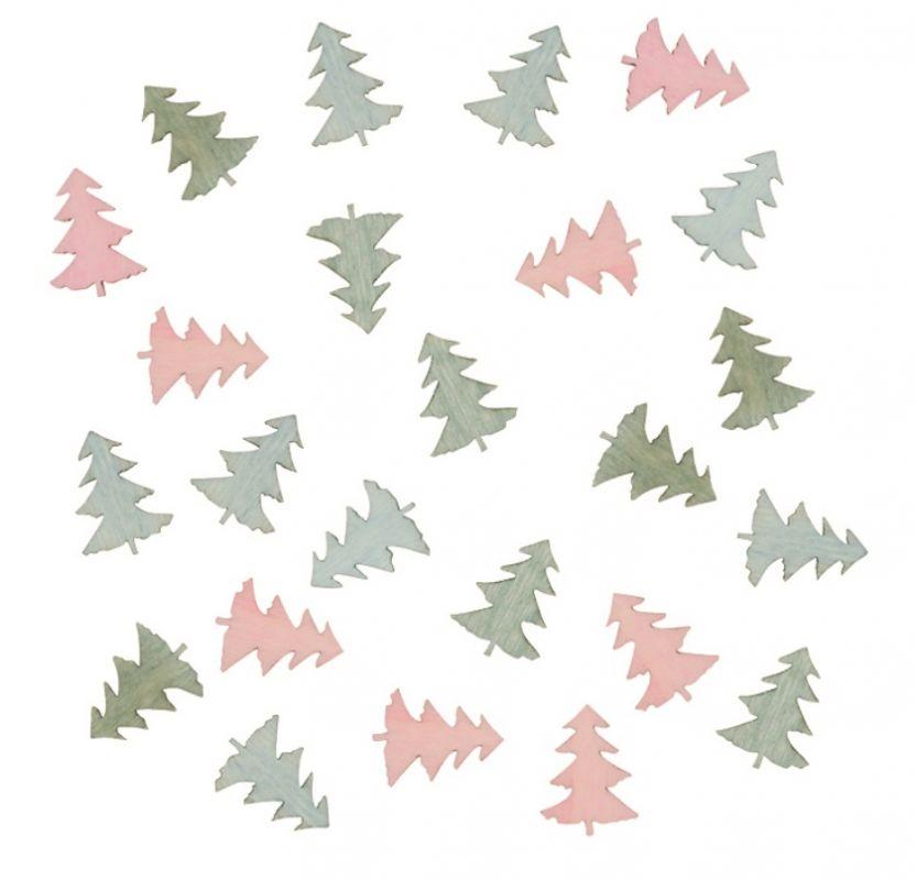 Výseky dřevěné - stromky 2 cm, 3 barvy - 24 ks ostatní