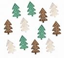 Výseky dřevěné - stromky 4 cm, 3 barvy - 12 ks