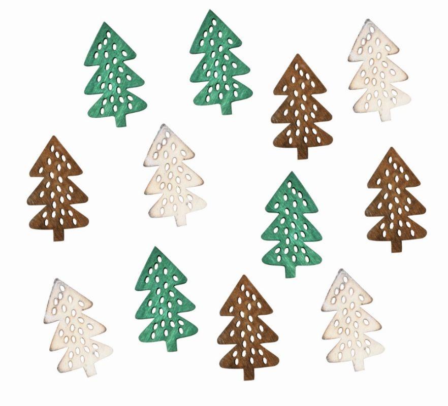 Výseky dřevěné - stromky 4 cm, 3 barvy - 12 ks ostatní