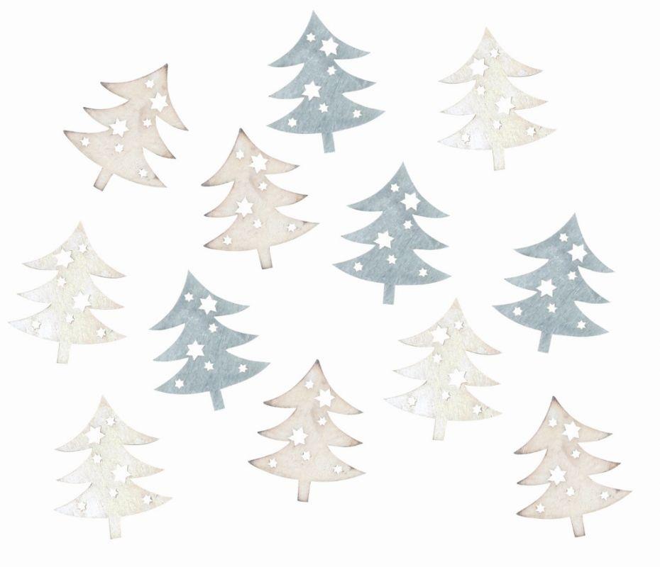 Výseky dřevěné - stromky šedé 4 cm, 3 barvy - 12 ks ostatní