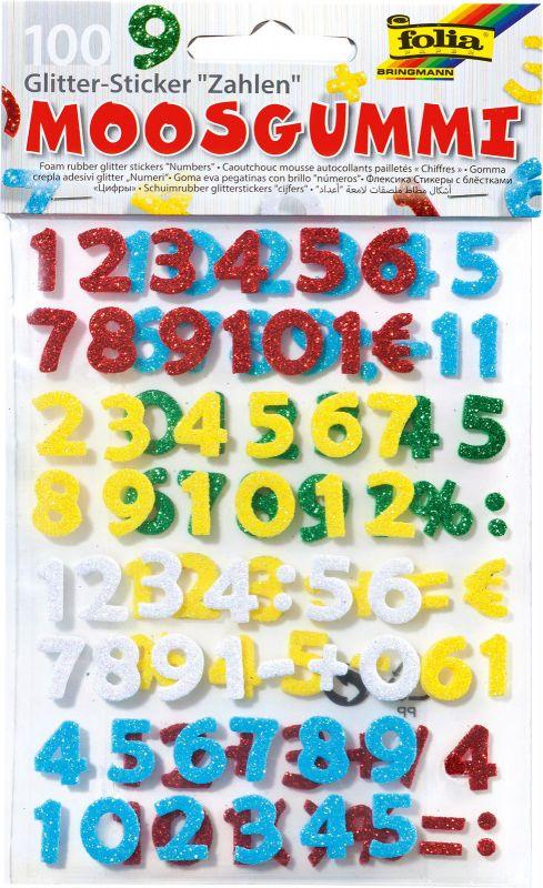 Výseky z pěnovky se třpytkami - číslice 100ks Folia