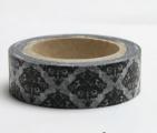 Washi Tape - dekorační lepicí páska - 10mx15mm - ERB ČERNÝ