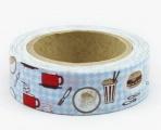 Washi Tape - dekorační lepicí páska - 10mx15mm - KUCHYŇ, HAMBURGER