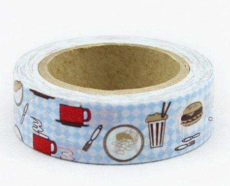 Washi Tape - dekorační lepicí páska - 10mx15mm - KUCHYŇ, HAMBURGER ostatní