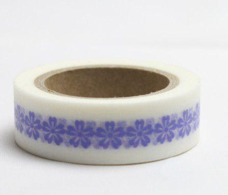 Washi Tape - dekorační lepicí páska - 10mx15mm - KYTIČKY MODRÉ V BÍLÉ ostatní