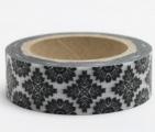 Washi Tape - dekorační lepicí páska - 10mx15mm - ORNAMENT ČERNÝ V BÍLÉ
