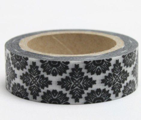 Washi Tape - dekorační lepicí páska - 10mx15mm - ORNAMENT ČERNÝ V BÍLÉ ostatní