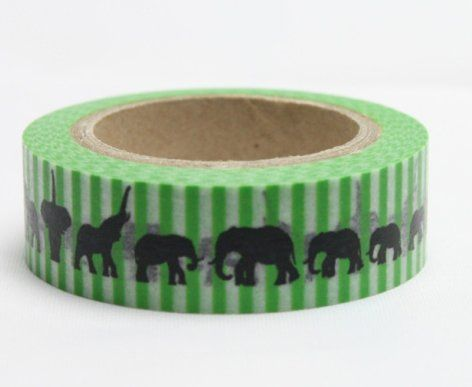 Washi Tape - dekorační lepicí páska - 10mx15mm - SLONI V ZELENÉ