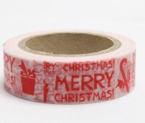 Washi Tape - dekorační lepicí páska - 10mx15mm - SOB, MERRY CHRISTMAS ostatní
