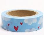 Washi Tape - dekorační lepicí páska - 10mx15mm - SRDCE V OBLACÍCH