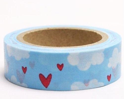 Washi Tape - dekorační lepicí páska - 10mx15mm - SRDCE V OBLACÍCH ostatní